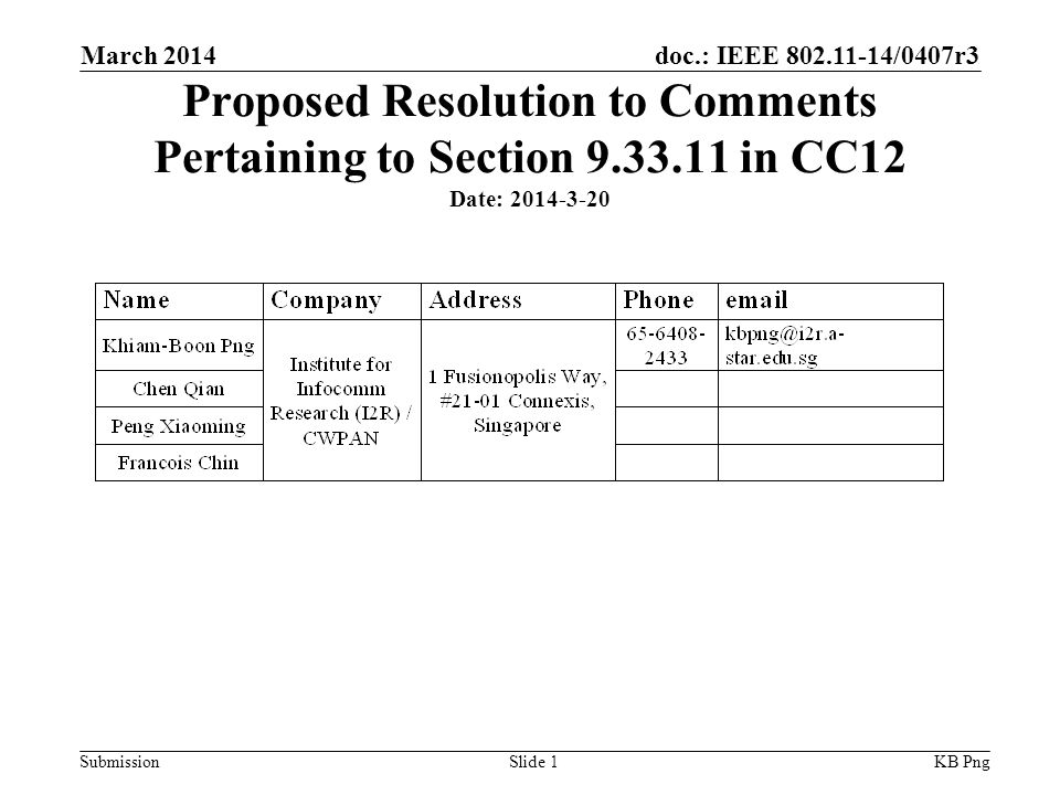 doc.: IEEE /0407r3 Submission Proposed Resolution to Comments Pertaining to Section in CC12 Date: KB PngSlide 1 March 2014