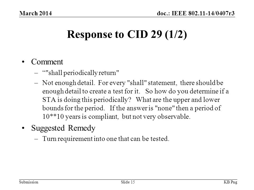 doc.: IEEE /0407r3 Submission Response to CID 29 (1/2) Comment – shall periodically return –Not enough detail.