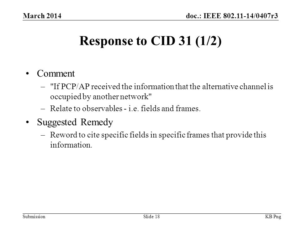 doc.: IEEE /0407r3 Submission Response to CID 31 (1/2) Comment – If PCP/AP received the information that the alternative channel is occupied by another network –Relate to observables - i.e.