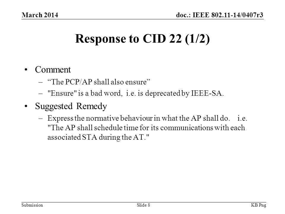 doc.: IEEE /0407r3 Submission Response to CID 22 (1/2) Comment – The PCP/AP shall also ensure – Ensure is a bad word, i.e.