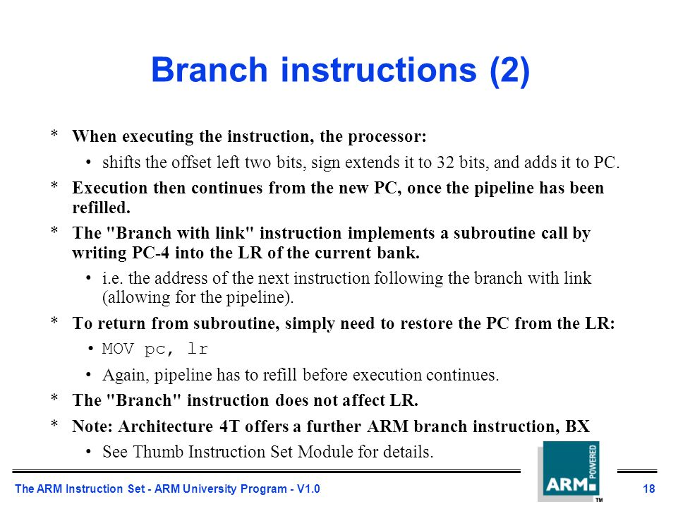 Arm Branch Instruction