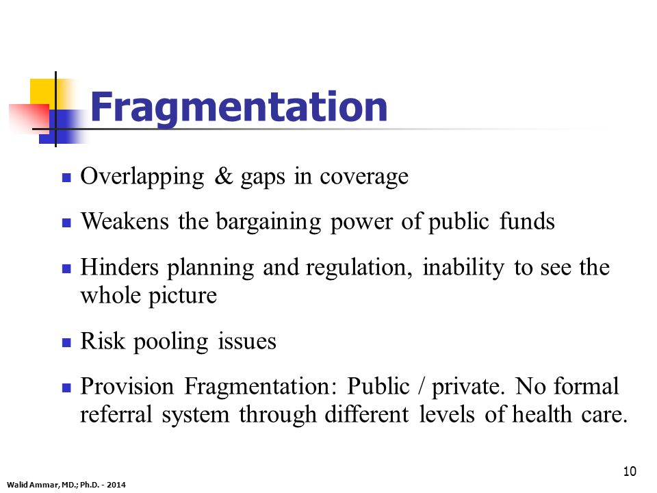 10 Fragmentation Overlapping & gaps in coverage Weakens the bargaining power of public funds Hinders planning and regulation, inability to see the whole picture Risk pooling issues Provision Fragmentation: Public / private.