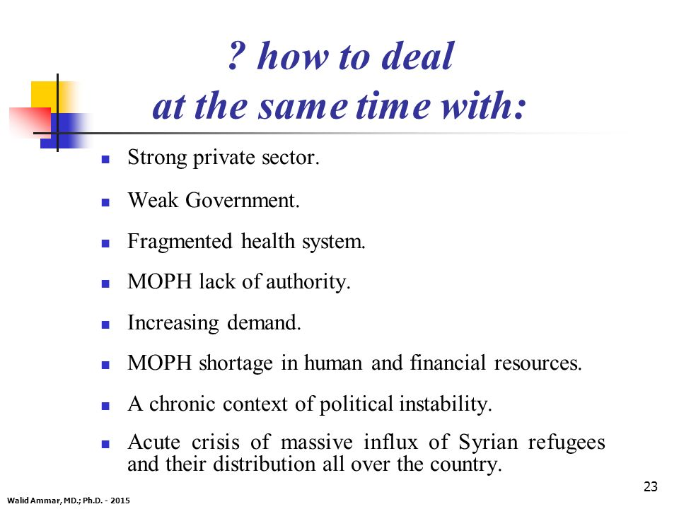 23 . how to deal at the same time with: Strong private sector.