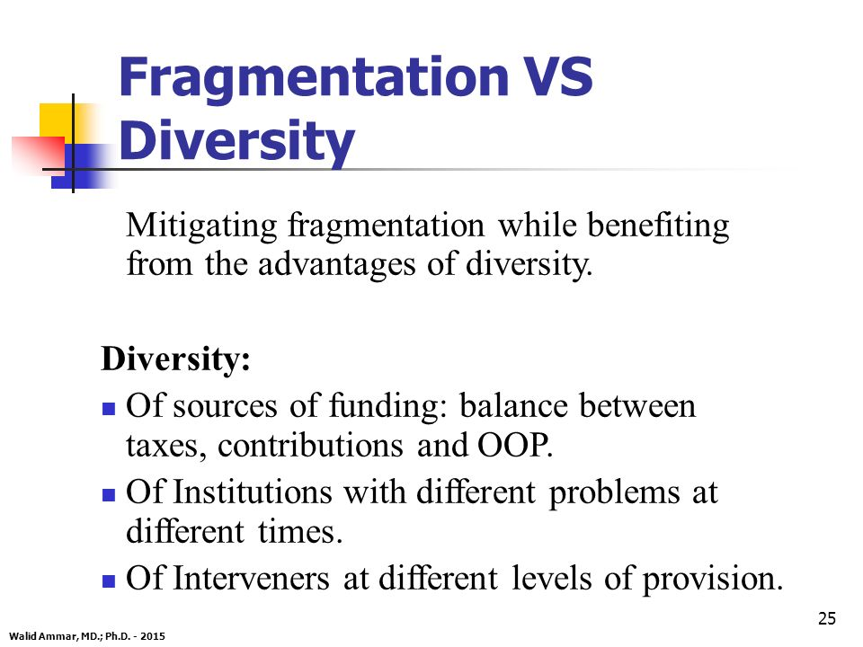 25 Fragmentation VS Diversity Mitigating fragmentation while benefiting from the advantages of diversity.