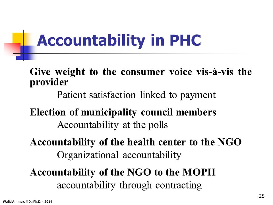 28 Give weight to the consumer voice vis-à-vis the provider Patient satisfaction linked to payment Election of municipality council members Accountability at the polls Accountability of the health center to the NGO Organizational accountability Accountability of the NGO to the MOPH accountability through contracting Walid Ammar, MD.; Ph.D.