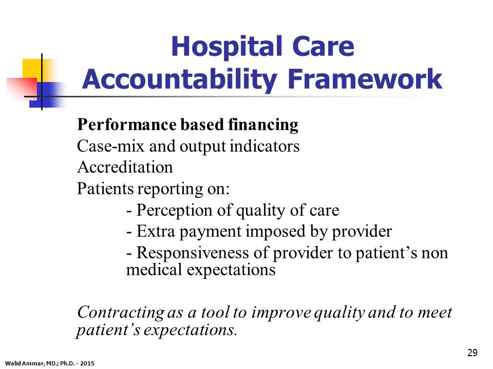 29 Hospital Care Accountability Framework Performance based financing Case-mix and output indicators Accreditation Patients reporting on: - Perception of quality of care - Extra payment imposed by provider - Responsiveness of provider to patient's non medical expectations Contracting as a tool to improve quality and to meet patient's expectations.