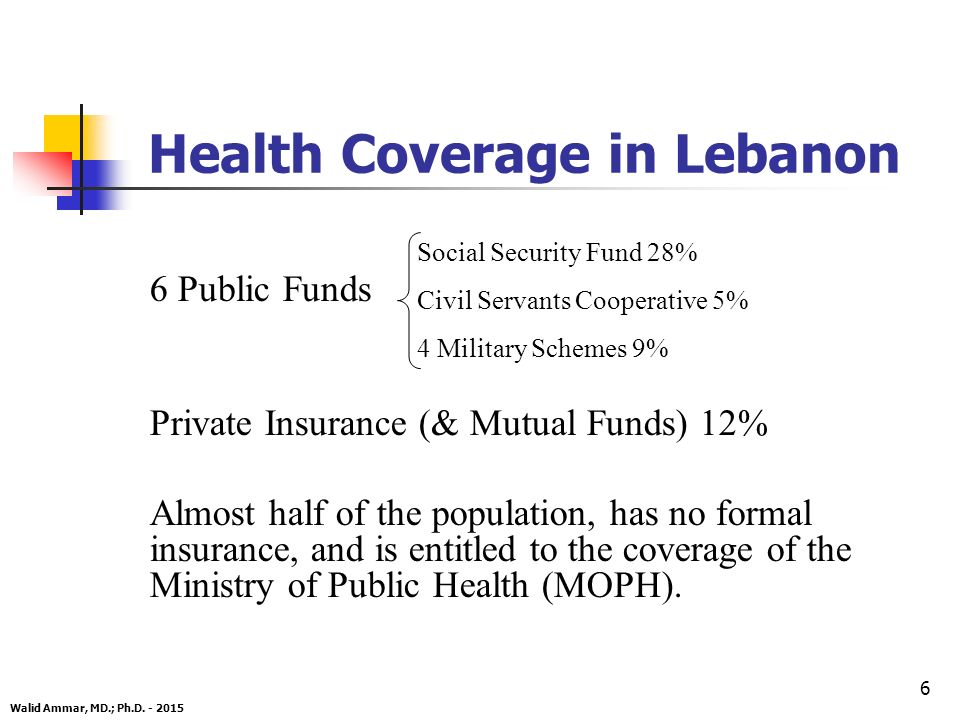6 Health Coverage in Lebanon Walid Ammar, MD.; Ph.D.