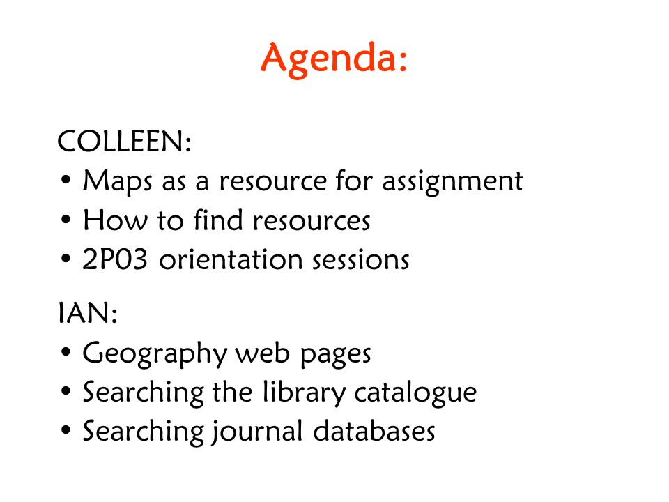 GEOG 2P03 Urban Geography LIBRARY RESEARCH TIPS Colleen Beard Map