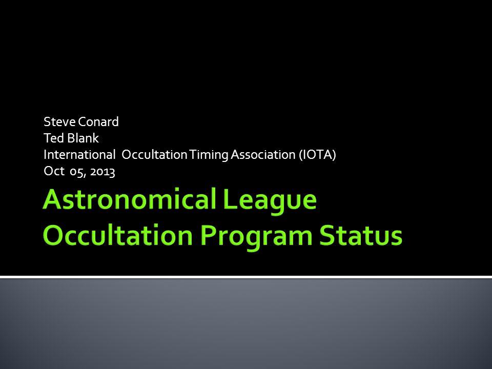 Steve Conard Ted Blank International Occultation Timing
