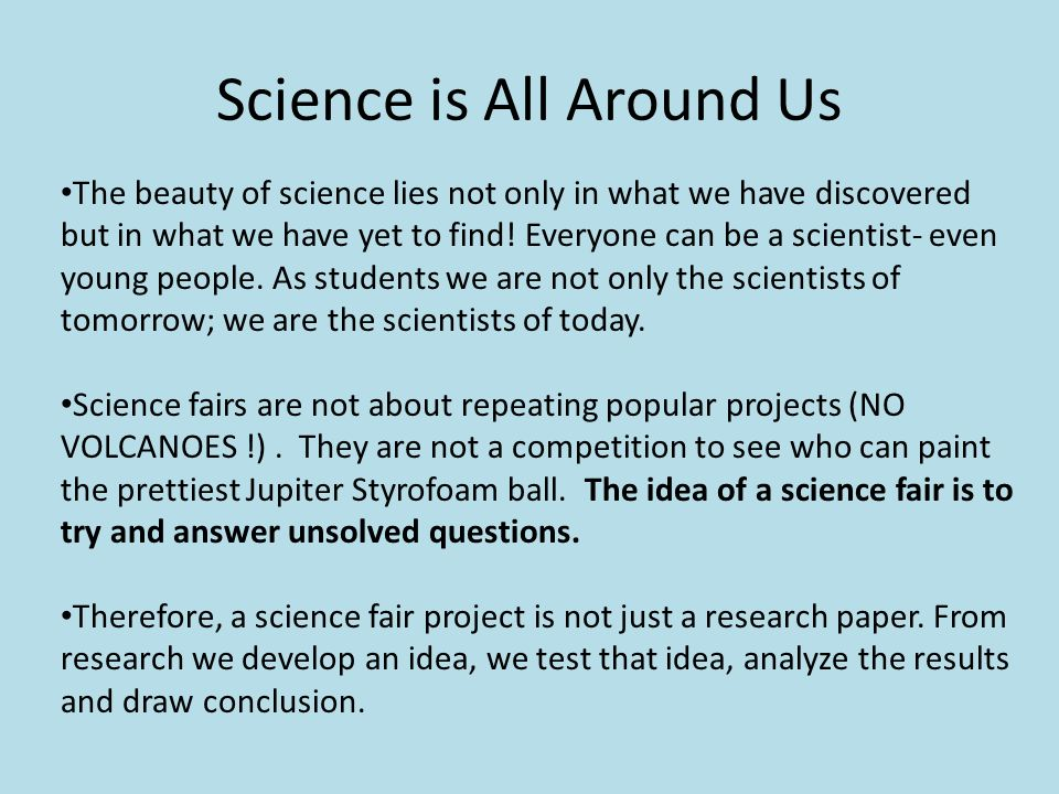 science fair project research paper