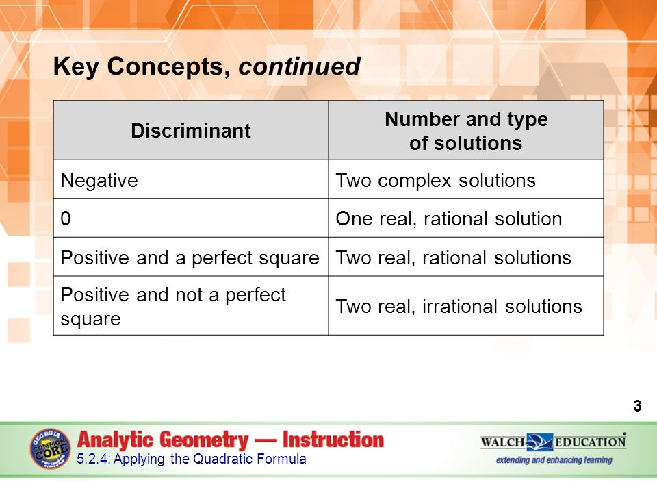 Key Concepts, continued : Applying the Quadratic Formula Discriminant Number and type of solutions NegativeTwo complex solutions 0One real, rational solution Positive and a perfect squareTwo real, rational solutions Positive and not a perfect square Two real, irrational solutions