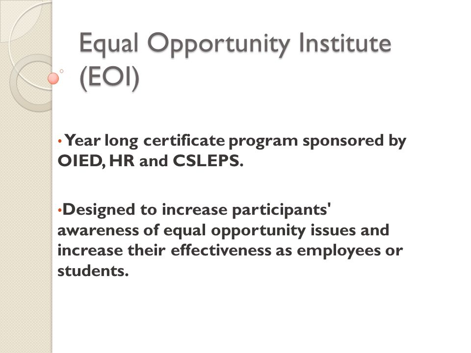 Equal Opportunity Institute Eoi Year Long Certificate Program