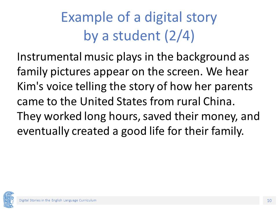 English and Digital Literacies Unit 3 2: Digital Stories in the