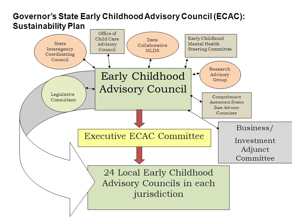 Office of Child Care Advisory Council Data Collaborative MLDS State Interagency Coordinating Council Early Childhood Mental Health Steering Committee Governor's State Early Childhood Advisory Council (ECAC): Sustainability Plan Early Childhood Advisory Council 24 Local Early Childhood Advisory Councils in each jurisdiction Executive ECAC Committee Research Advisory Group Comprehensive Assessment System State Advisory Committee Legislative Consultant Business/ Investment Adjunct Committee