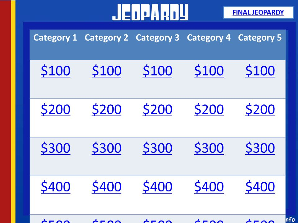 Category 1Category 2Category 3Category 4Category 5 $100 $200 $300 $400 $500 FINAL JEOPARDY FINAL JEOPARDY