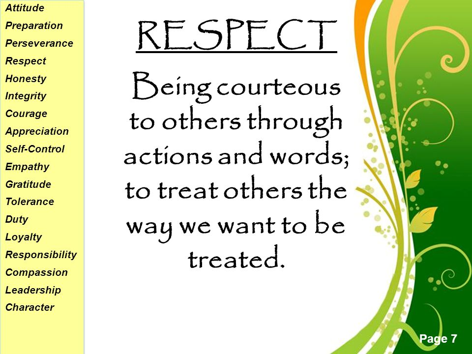 Free powerpoint templates page 1 free powerpoint templates 7 free powerpoint templates page 7 respect attitude preparation perseverance respect honesty integrity courage appreciation toneelgroepblik Images