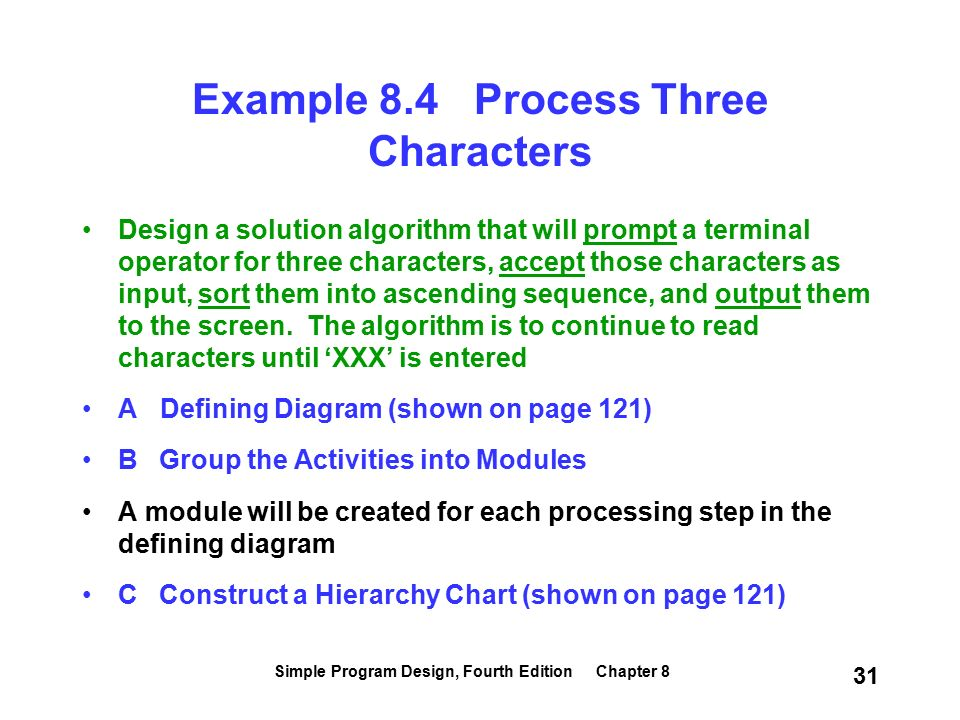 First steps in modularization simple program design fourth edition simple program design fourth edition chapter 8 31 example 84 process three characters design a ccuart Gallery