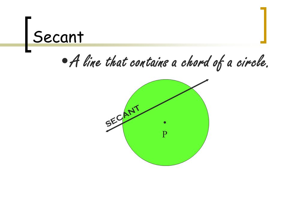 Geometry Chapter 9 Review. Secant A line that contains a chord of a ...
