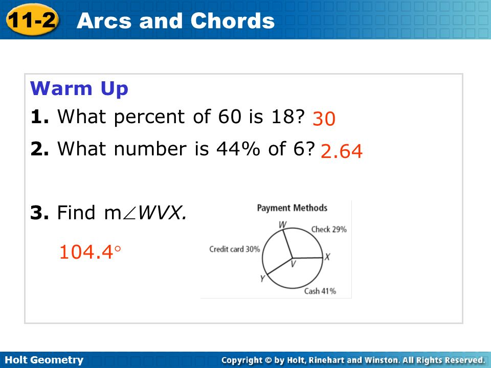 problem solving 11-2 arcs and chords