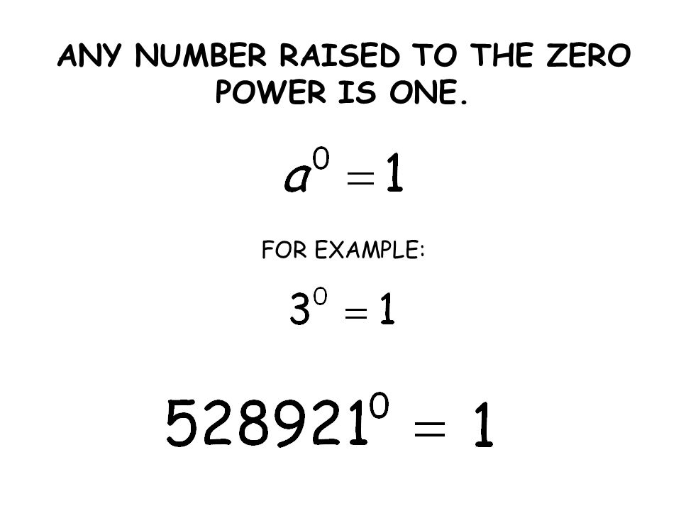 ANY NUMBER RAISED TO THE ZERO POWER IS ONE. FOR EXAMPLE: