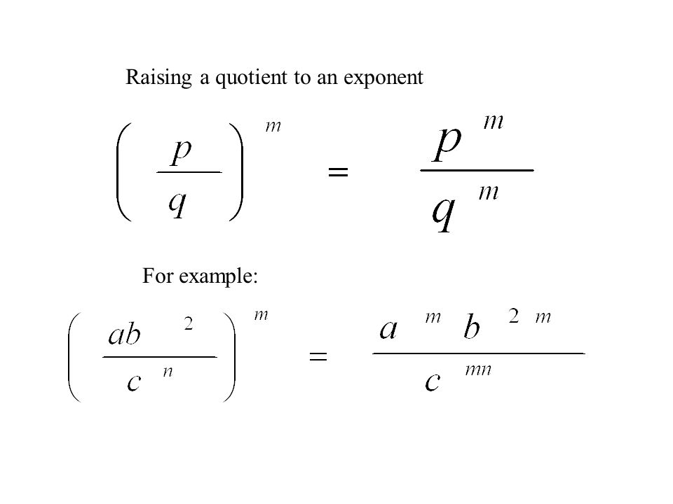 Raising a quotient to an exponent For example:
