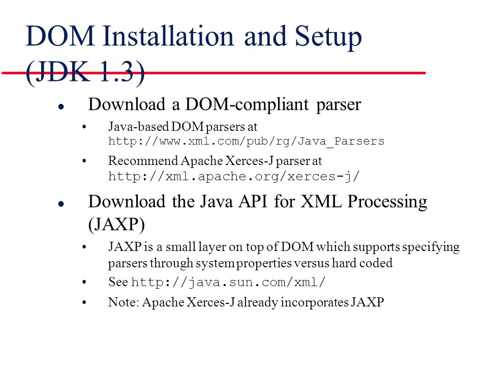 Document Object Model Dom Agenda L Introduction To Dom L Java Api