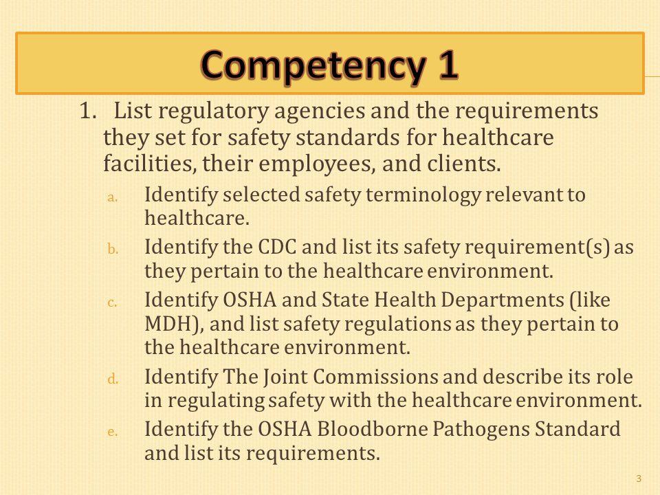 Competency 1: Regulatory Agencies Dede Carr, BS, LDA Karen
