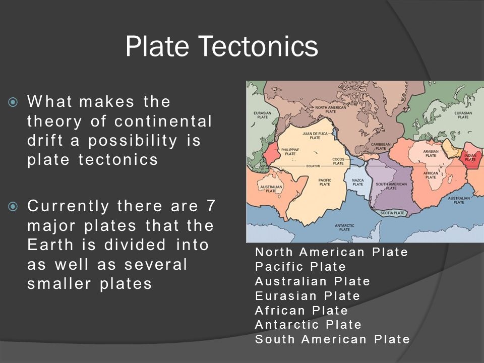 Plate Tectonics  What makes the theory of continental drift a possibility is plate tectonics  Currently there are 7 major plates that the Earth is divided into as well as several smaller plates North American Plate Pacific Plate Australian Plate Eurasian Plate African Plate Antarctic Plate South American Plate