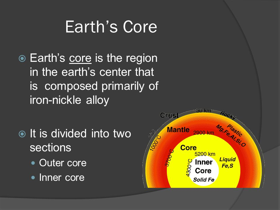 Earth's Core  Earth's core is the region in the earth's center that is composed primarily of iron-nickle alloy  It is divided into two sections Outer core Inner core
