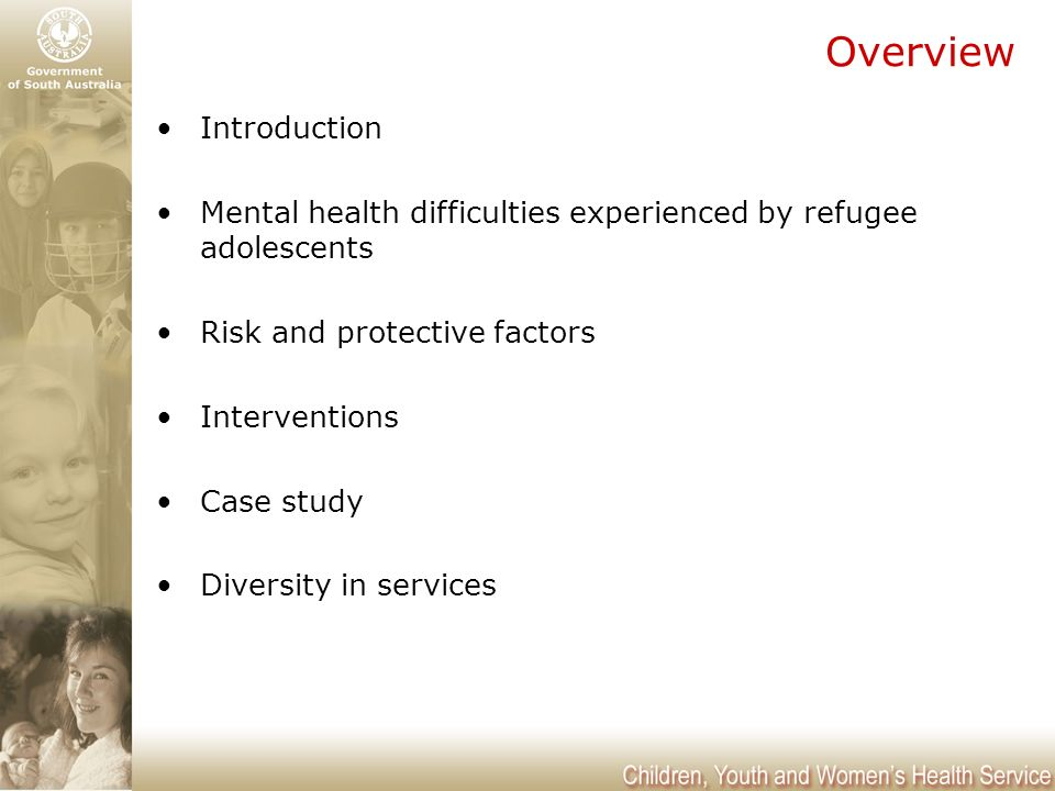 Mental Health Issues for Refugee Adolescents Monica McEvoy