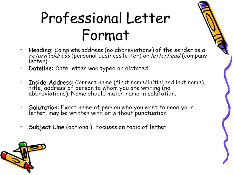 professional letter format heading complete address no abbreviations of the sender as a