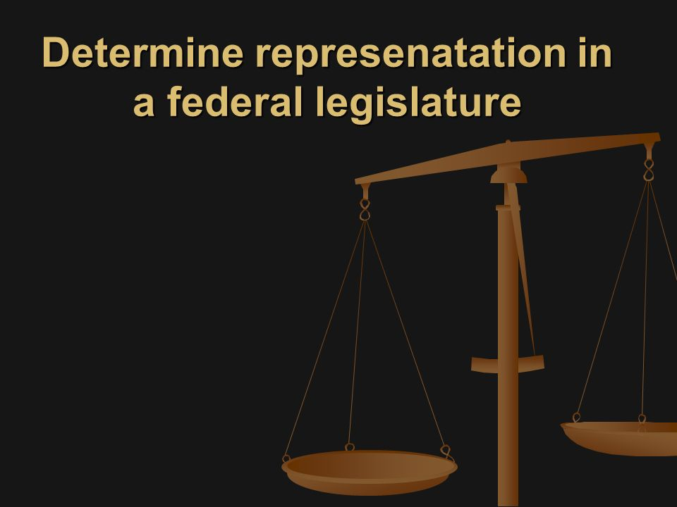 Determine represenatation in a federal legislature