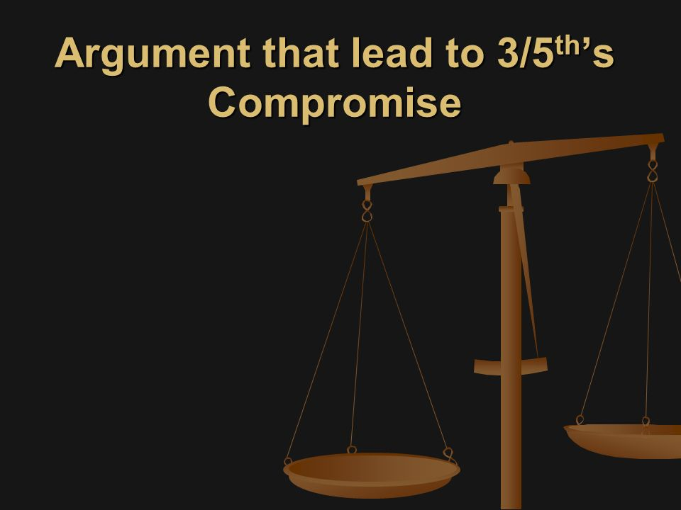 Argument that lead to 3/5 th 's Compromise