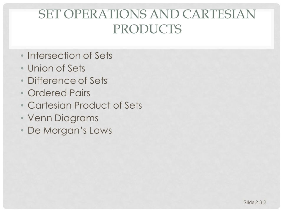 SECTION 2 3 Set Operations And Cartesian Products Slide Ppt Download