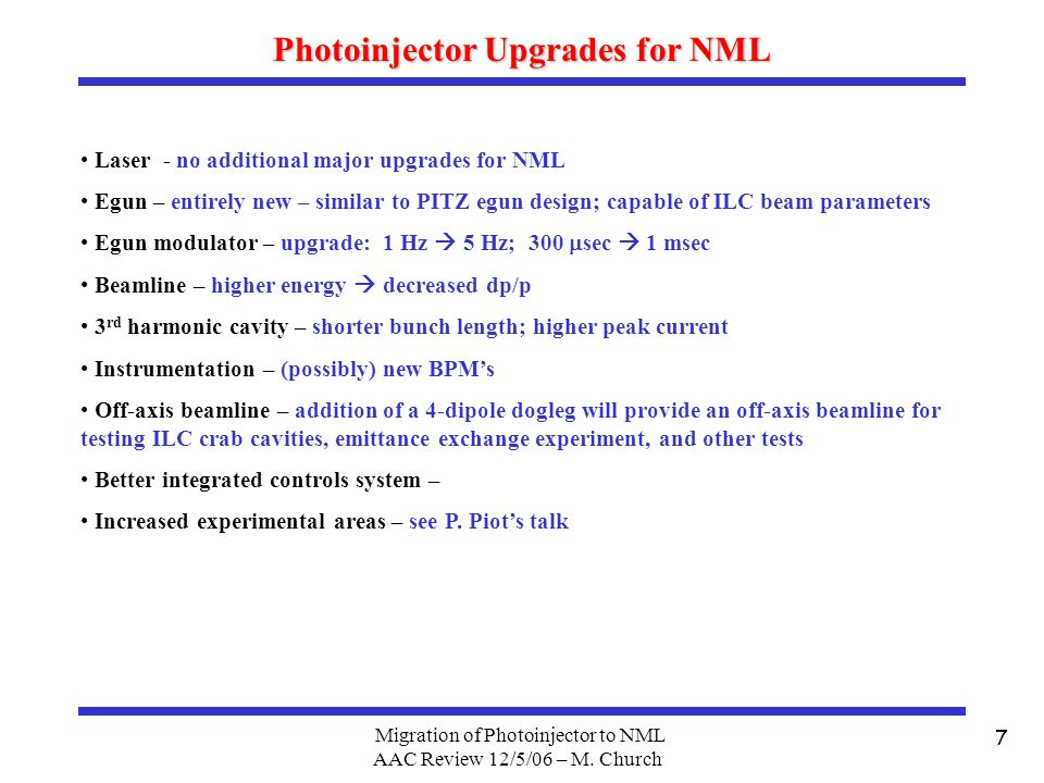 Migration of Photoinjector to NML AAC Review 12/5/06 – M.
