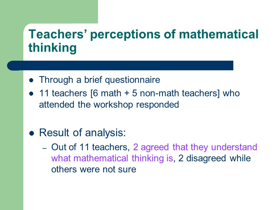 Developing Mathematical Thinking in a Primary Mathematics