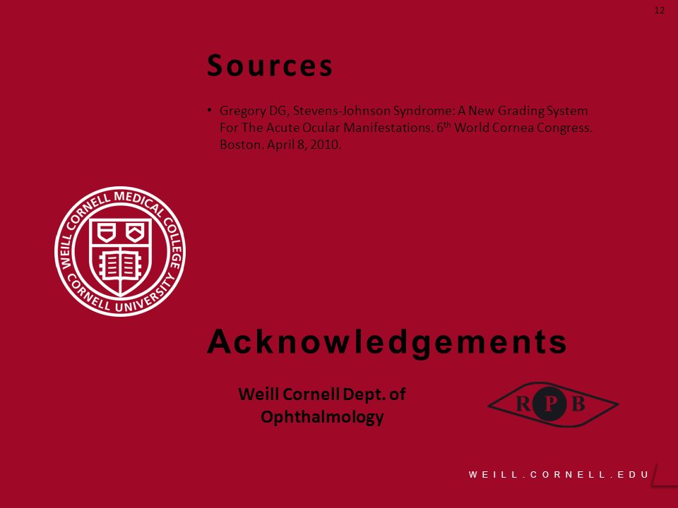 WEILL CORNELL EDU Outcomes of Acute Interventions for SJS