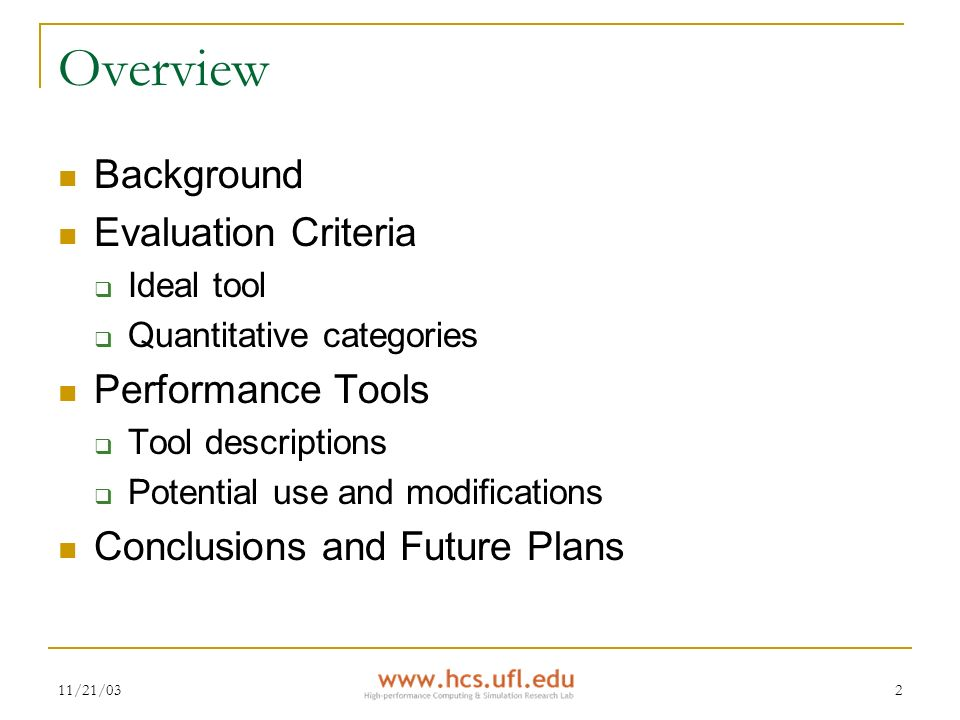 Preparatory Research on Performance Tools for HPC HCS Research