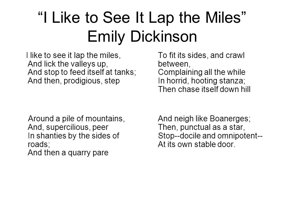 emily dickinson i like to see it lap the miles
