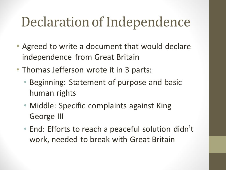 3 declaration of independence agreed to write