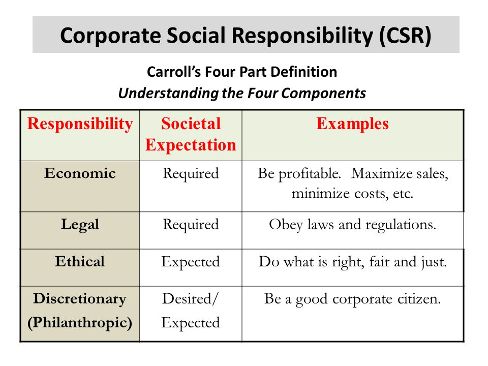the four areas of corporate social responsibility Corporate social responsibility an implementation guide for business paul hohnen, author jason potts, editor.
