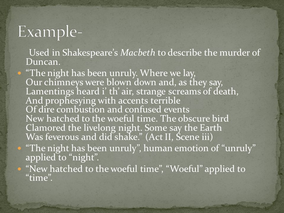 use of antithesis in macbeth Antithesis is the use of contrasting concepts, words, or sentences within parallel grammatical structures untie the winds: exploring the witches' control over nature in macbeth relation between macbeth and his supernaturalistic world,including its impacts.