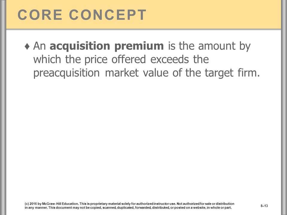 CORE CONCEPT ♦ An acquisition premium is the amount by which the price offered exceeds the preacquisition market value of the target firm.