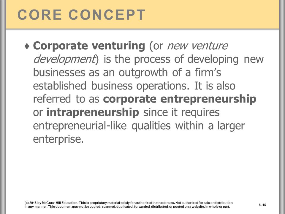 CORE CONCEPT ♦ Corporate venturing (or new venture development) is the process of developing new businesses as an outgrowth of a firm's established business operations.