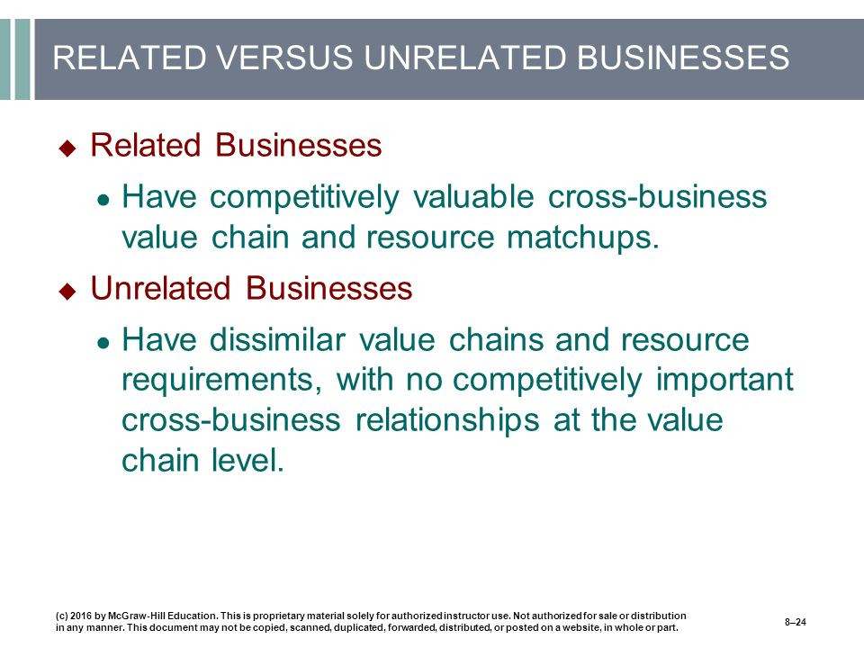 RELATED VERSUS UNRELATED BUSINESSES  Related Businesses ● Have competitively valuable cross-business value chain and resource matchups.