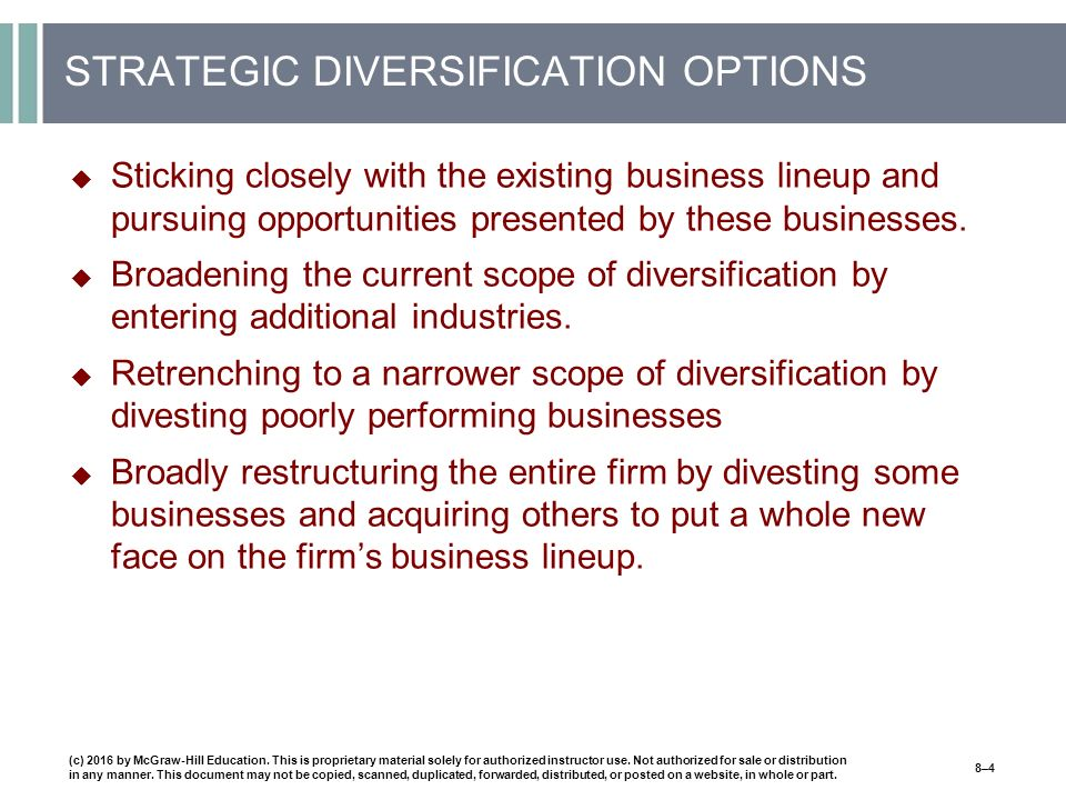 STRATEGIC DIVERSIFICATION OPTIONS  Sticking closely with the existing business lineup and pursuing opportunities presented by these businesses.