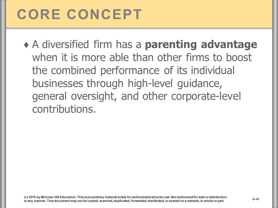 CORE CONCEPT ♦ A diversified firm has a parenting advantage when it is more able than other firms to boost the combined performance of its individual businesses through high-level guidance, general oversight, and other corporate-level contributions.