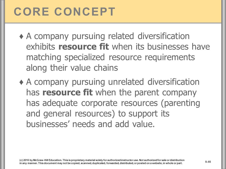CORE CONCEPT ♦ A company pursuing related diversification exhibits resource fit when its businesses have matching specialized resource requirements along their value chains ♦ A company pursuing unrelated diversification has resource fit when the parent company has adequate corporate resources (parenting and general resources) to support its businesses' needs and add value.