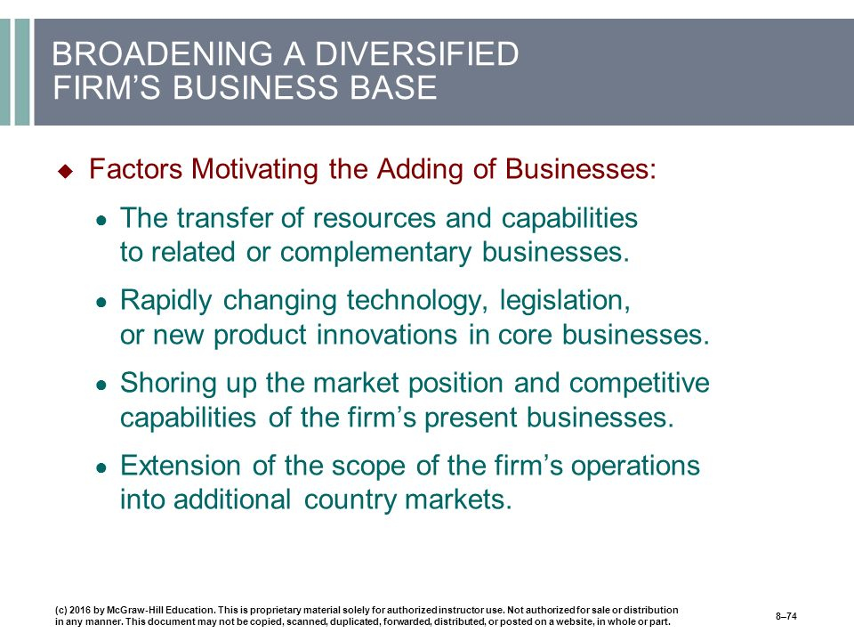 BROADENING A DIVERSIFIED FIRM'S BUSINESS BASE  Factors Motivating the Adding of Businesses: ● The transfer of resources and capabilities to related or complementary businesses.