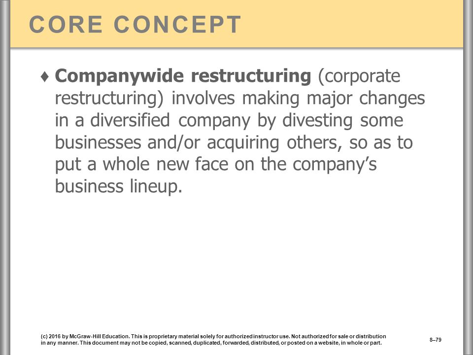 CORE CONCEPT ♦ Companywide restructuring (corporate restructuring) involves making major changes in a diversified company by divesting some businesses and/or acquiring others, so as to put a whole new face on the company's business lineup.